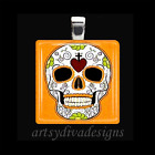 DAY OF THE DEAD DIA DE LOS MUERTOS SUGAR SKULL GLASS PENDANT NECKLACE design 2