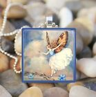 """BLUE SKY FAIRY"" VINTAGE FAIRY PIXIE WINGS GLASS TILE PENDANT NECKLACE KEYRING"