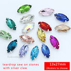 12p color Glass Rhinestone 13x27mm Navette Crystal Fancy Sew On Stone Dress Bead