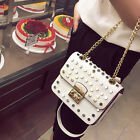 New Rivet Womens Mini Handbag PU Leather Bags Shoulder Messenger Tote Chain Bag