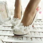 New White Flower flat ballet lace Wedding shoes Bridal shoes low heels size 3-7