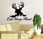 Deer Hunting Wall Decal Quote Eat Sleep Hunt Home Decor Interior Bedroom NS1008