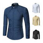 Men Casual Shirts Solid Color Slim Fit Long Sleeve Stand Collar Mens Shirts LAUS