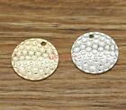 20 Hammered Tag Charms Disc Round Charms Antique Silver KC Gold Charm 22x22 2624