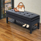 "44""  Brown Faux Leather Ottoman Bench Seat With Storage And Wooden Shoe Rack"