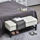"""44""""  Brown Faux Leather Ottoman Bench Seat With Storage And Wooden Shoe Rack"""