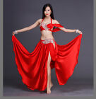Performance Belly Dance Costumes Rhinestones Bra Top with Long Skirt 2pcs set