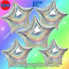 "18"" HOLOGRAPHIC STARS FOIL BALLOONS STARS HEARTS DEBUT WEDDING SHOWER BIRTHDAY B"