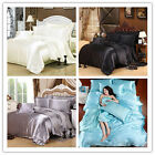 Silk Fabric Satin Bedding Set Duvet Cover Flat Sheet Pillow Case Queen 4-piece