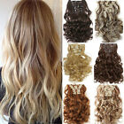 UK SALE Real Thick Clip In 10% Human Hair Extensions 7Pcs Full Head Synthetic 14