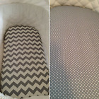 Cotton Bassinet,  Moses,  Boori,  Stokke fitted sheet in grey,  chevron,  dots,  spots