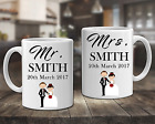 Set Of 2 Mugs Personalised Mr and Mrs Coffee Cups Wedding Engagement Gift - DE21