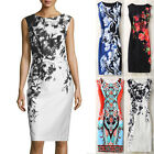 Womens Floral Printing Elegant Ladies O Neck New Evening Party Slim Mini Dresses