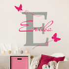 Girl Name Wall Decal Monogram Decal Butterfly Sticker Nursery Room Decor MM20