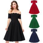 Vintage Short Sleeve Off Shoulder Nylon-Cotton Homecoming Party Picnic Dress New