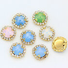 12mm 18mm opal color Round sew on costume Dress glass crystal rhinestones Beads