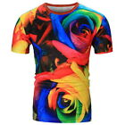 3D Rose Printed T-Shirt Multicolor Men's Round Tops Shirt Summer Short Sleeve