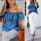 Ladies Short Sleeve Off Shoulder Tops Loose Casual Denim Shirt Blouse Plus S~2XL