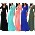 Women V-Neck Maxi Dress Long Sleeve Evening Party Cocktail Long Formal Dress US