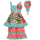 Sophias Style Exclusive Girls Jettlyn Vibrant Print Ruffle 2pc Outfit 2T-6X