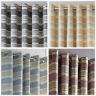 STRIPE DENVER RING TOP EYELET LINED PAIR CURTAINS IN BLUE CARAMEL GREY OR PURPLE