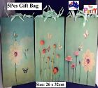 5 pcs 26 x 32cm Paper Foldable Gift Bags Wedding Party Jewellery Cardboard Green