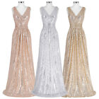 Sequined .Wedding Prom Ball Gown Formal Evening Party Long Maxi Bridesmaid Dress