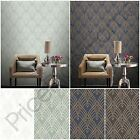 RASCH ASTORIA ART DECO GEOMETRIC WALLPAPER GLITTER SILVER GOLD WHITE CHARCOAL