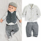 NEW Gentleman Newborn Baby Boy Waistcoat + Pants +Shirt Outfit Clothes Set Suit