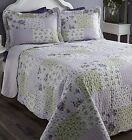 BALTIMORE LAVENDER BEDSPREAD QUILTED TRADITIONAL PATCHWORK LILAC GREEN SCALLOPED