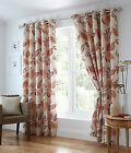 LEAF TRAIL TERRACOTTA CURTAINS EYELET RING TOP READY MADE LEAVES ORANGE RUST RED