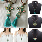 Hot Women Vintage Leather Alloy Chain Pendant Necklace Statement Chunky Bib