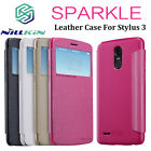For LG Stylo 3 /Stylus 3 Sparkle Leather Window View Flip Case Bag Cover Shell