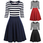 1*Retro Black White Navy Style Stripe Pattern 3/4 Sleeve Crew Neck A-Line Dress