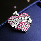 "Heart Pendant Necklace ""sister""  Chain Stainless Steel Fashion Jewelry Gift S4"