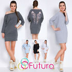 Womens 3/4 Sleeve Dress Knee Length Off Shoulder Tunic With Wings On Back FT2909