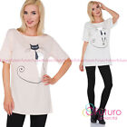Women's Everyday Top Cat Print Short Sleeve Cotton T-Shirt One Size 8-12 FT3047