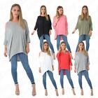 Womens Ladies Cold Cut Shoulder Long Sleeve High Low Hem Tunic Top Shirt 8-20