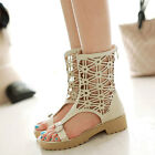 Women's Casual Sandal Gladiators Roman Shoes Antiskid Open Toe Block Heel Boots