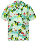 Original Hawaiihemd Herren S - 4XL Kurzarm Hawaii-Print Flamingo Türkis