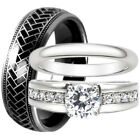 His Black Tungsten 8 mm Band Hers Stainless Steel CZ Engagement Wedding Ring Set
