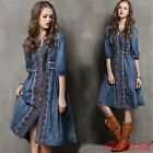 Womens Bohemia ethnic style Embroidered Ball Gown Dress 3/4 Sleeve Denim Dresses