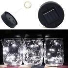 3X6X 10 LED Fairy Lights Solar Mason Jar Lid Lights Color Changing Garden Decor