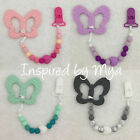 butterfly teething clip dummy soother silicone baby toy shower gift teether