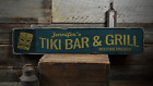 Tiki Bar & Grill, Custom Bar Owner Name - Rustic Distressed Wood Sign ENS1001263