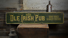 Ole Irish Pub, Custom Bar Owner Name - Rustic Distressed Wood Sign ENS1001646