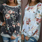 Fashion Floral Women's Long Sleeve Shirt Casual Blouse Loose Cotton Tops T Shirt