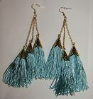 "LONG FASHION (5"") THREE TASSEL FRINGE EARRINGS YELLOW PINK BLUE BLACK OR WHITE"