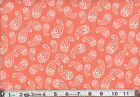 White PAISLEY on PEACH   : 100% NOVELTY cotton fabric by the 1/2 metre