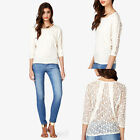 Women O Neck Back Lace Patchwork Pullover Summer T-shirt 3/4 Sleeve Top Blouse
